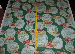 COWTAN & TOUT JANE CHURCHILL STILL LIFE FRENCH COUNTRY FRUITS PLATES LIMITED EDITION TOILE FABRIC 14 YARDS GREEN MULTI