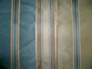 SILK LOOM INC MABEL STRIPE SILK FABRIC BLUE SAND