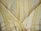 SILK LOOM INC MABEL STRIPE SILK FABRIC CREAM YELLOW GREEN