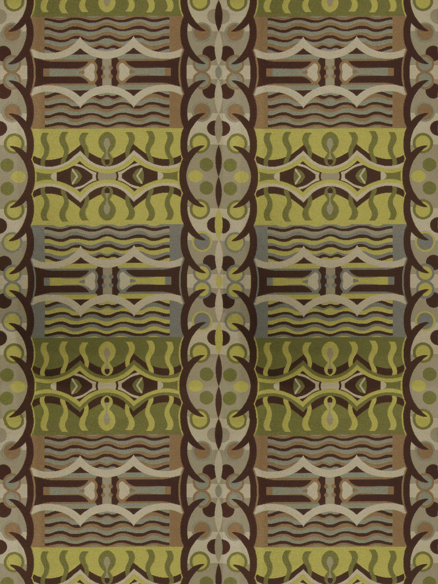 Designer abstract art deco upholstery fabric green gray brown for Art deco fabric