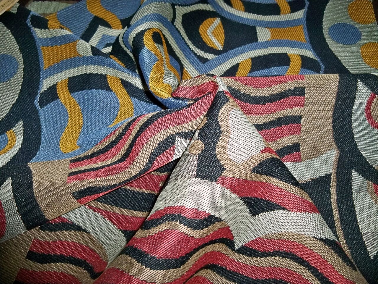 Designer abstract art deco upholstery fabric multi blue for Art deco style fabric