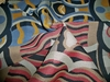 DESIGNER ABSTRACT ART DECO UPHOLSTERY FABRIC MULTI BLUE RED TAN BLACK