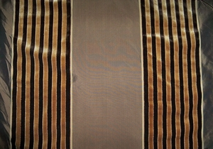 DESIGNER BEACON HILL SILK�VELVET STRIPES�FABRIC�2.5 YARDS BROWN