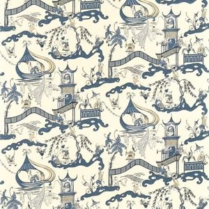 DESIGNER CHINOISERIE ASIAN FISHERMEN PAGODAS TOILE FABRIC BLUE MULTI