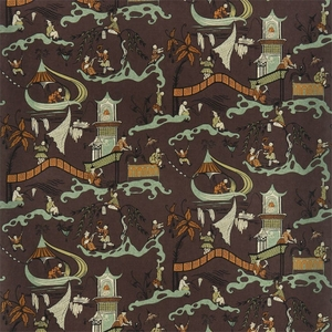 DESIGNER CHINOISERIE ASIAN FISHERMEN PAGODAS TOILE FABRIC BROWN MULTI