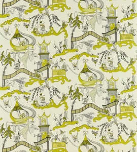 DESIGNER CHINOISERIE ASIAN FISHERMEN PAGODAS TOILE FABRIC LIME TAUPE MULTI