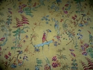 DESIGNER CHINOISERIE ASIAN TOILE BIRDS LINEN FABRIC 10 YARDS SAMPLE