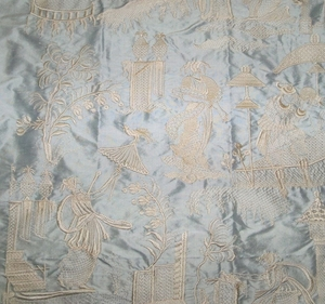 DESIGNER CHINOISERIE LIJUAN EMBROIDERED SILK TOILE FABRIC SPA BLUE OPAL