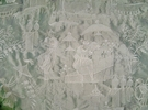 DESIGNER CHINOISERIE LIJUAN EMBROIDERED SILK TOILE FABRIC PLATINUM OPAL SAMPLE