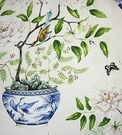 DESIGNER CHINOISERIE VASES PEONY BIRDS BUTTERFLIES TOILE FABRIC MULTI
