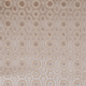 DESIGNER CONTEMPORARY GEOMETRIC CUT VELVET FABRIC FLAX CREAM