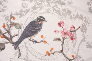 DESIGNER EDINBURGH WEAVERS SONG BIRD TOILE FABRIC OPAL