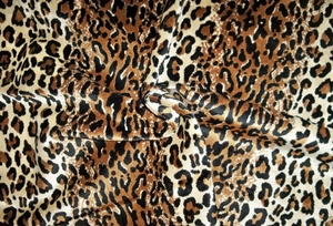 DESIGNER ETHNIC CHIC SAFARI SIMBA LEOPARD CHEETAH VELVET FABRIC BLACK MULTI