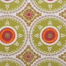 DESIGNER ETHNIC CHIC SUZANI MEDALLIONS FABRIC GREEN YELLOW MULTI