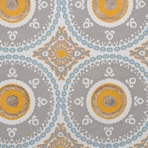 DESIGNER ETHNIC CHIC SUZANI MEDALLIONS FABRIC GREY YELLOW MULTI