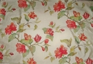 DESIGNER FLORAL BUTTERFLIES LINED SILK FABRIC 9 YARDS CREAM GREEN CORAL