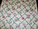 DESIGNER FLORAL CABBAGE ROSES TREELIS POLISHED COTTON FABRIC 18 YARDS CREAM ROSE GREEN BLUE MULTI