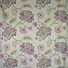 DESIGNER FLORAL VINES EMBROIDERED SILK FABRIC AUBERGINE