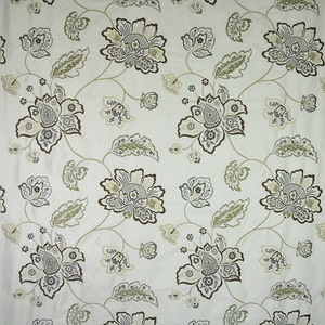 DESIGNER FLORAL VINES EMBROIDERED SILK FABRIC EARTH