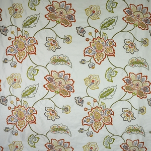 DESIGNER FLORAL VINES EMBROIDERED SILK FABRIC SPICE