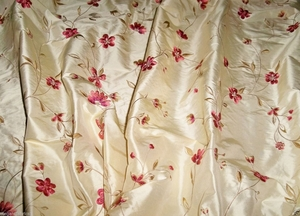 DESIGNER FLORAL VINES SOMMERSET EMBROIDERED SILK FABRIC 19 YARD BOLT BUTTERCREAM ROSE MULTI