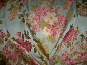 DESIGNER FRENCH COUNTRY SPRINGTIME FLORAL BOUQUETS WOVEN DAMASK FABRIC 10 YARDS ROSE AQUA