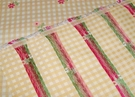 DESIGNER FRENCH COUNTRY GINGHAM CHECK PETITE FLOWERS WOVEN FABRIC  SAMPLE