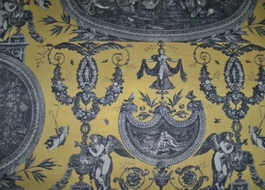 DESIGNER FRENCH NEOCLASSICAL ROUSSEAU TOILE FABRIC 20 YARDS