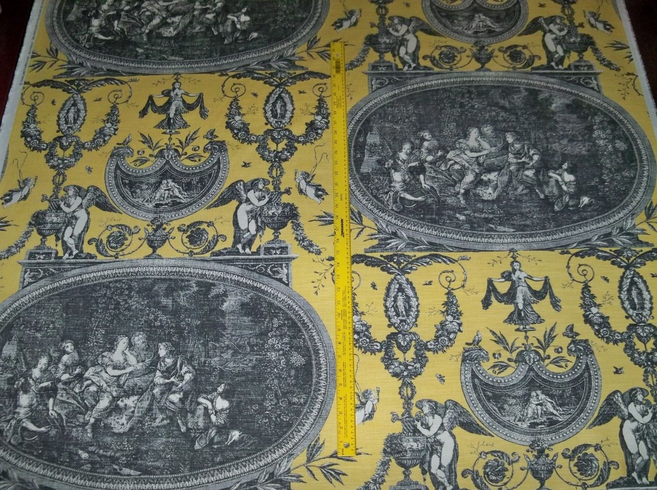 Designer french neoclassical rousseau toile fabric 20 yards - Toile triptyque design ...
