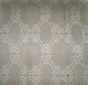 DESIGNER GORDIANA WEAVE EMBROIDERED LINEN FABRIC NATURAL (TAUPE) / CREAM