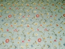 DESIGNER ITALIAN FLORA SCROLLWORKS LAMPAS FABRIC 10 YARDS SKY BLUE MULTI - SAMPLE
