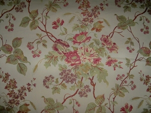 DESIGNER ITALIAN FORTENAY FLORAL BOUQUESTS LAMPAS BROCADE FABRIC 10 YARDS CREAM MULTI