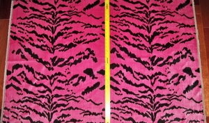 DESIGNER ITALIAN LA TIGRESA TIGER SCALAMANDRE STYLE TIGRE STRIE SILK VELVET FABRIC 10 YARDS PINK BLACK