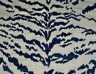 DESIGNER ITALIAN TIGER TIGRE VELVET FABRIC CREAM NAVY SAMPLE