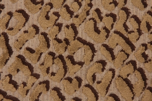DESIGNER JUNGLE CAT LEOPARD BAMBOO BLEND VELVET FABRIC TAUPE