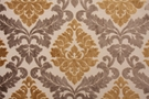 DESIGNER KINGSLAND CUT VELVET DAMASK FABRIC GOLD