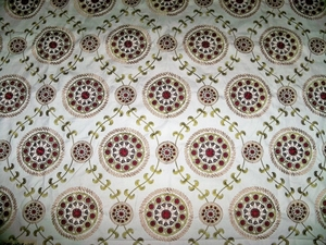 DESIGNER MEDINA EMBROIDERED SUZANI MEDALLION FABRIC 10 YARDS CREAM