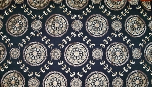 DESIGNER MEDINA EMBROIDERED SUZANI MEDALLION FABRIC BLACK