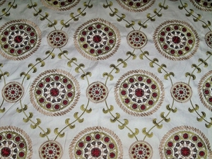 DESIGNER MEDINA EMBROIDERED SUZANI MEDALLION FABRIC CREAM