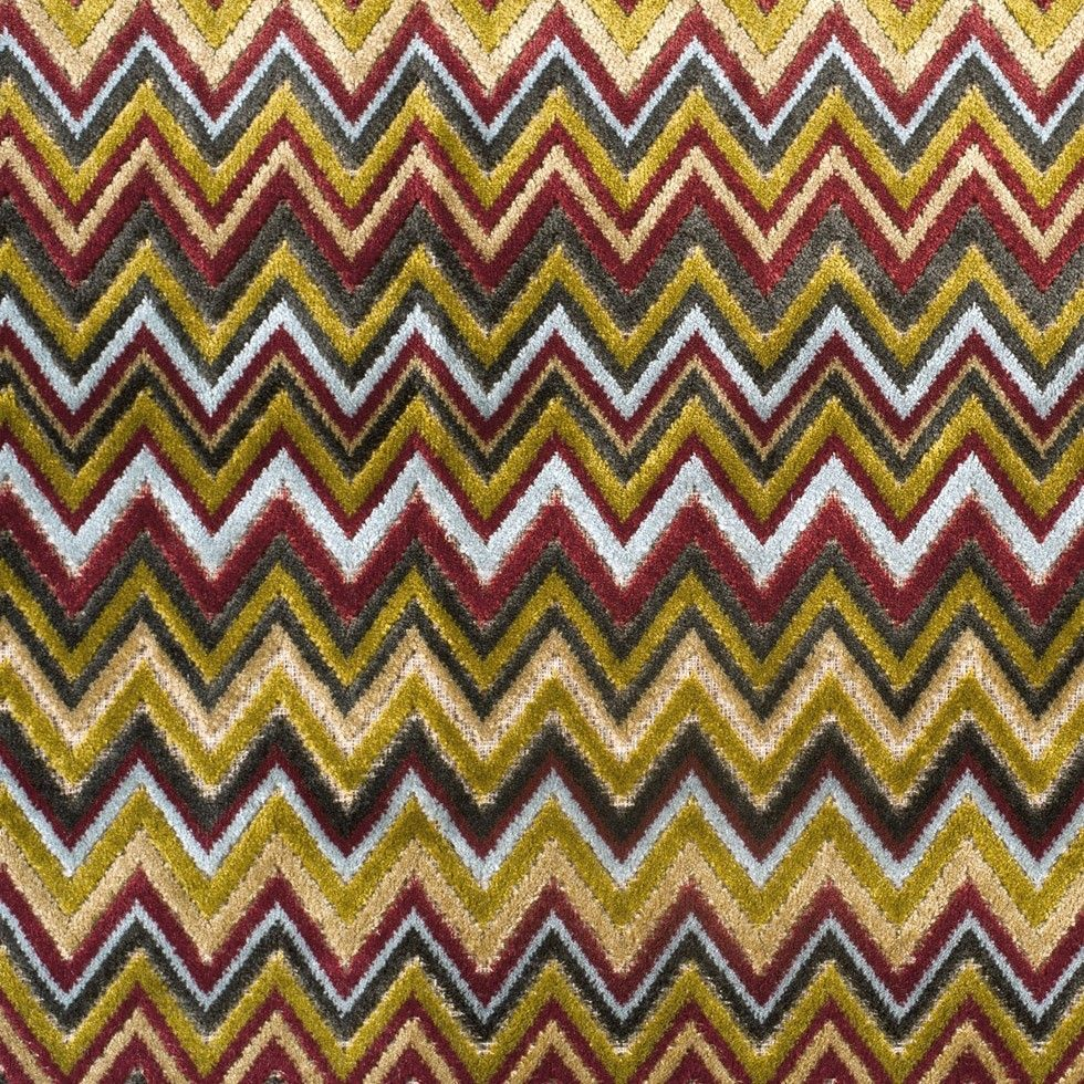 designer toni missoni style flamestitch zig zag velvet fabric  - designer toni missoni style flamestitch zig zag velvet fabric brown goldcrimson multi
