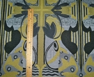 DESIGNER NAILA ART NOUVEAU DECO GEOMETRIC FABRIC YELLOW GREY BLACK