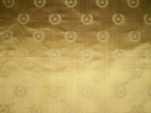 DESIGNER NEOCLASSICAL BEE SILK DAMASK FABRIC 3.5 YARDS MAIZE