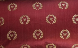 DESIGNER NEOCLASSICAL BEE SILK DAMASK FABRIC CRIMSON RED /GOLD OPAL 5 YARD MINIMUM