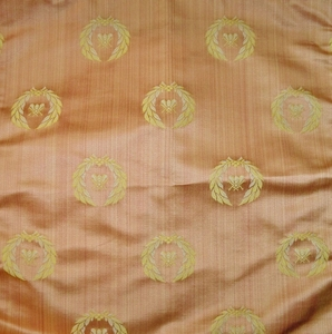 DESIGNER NEOCLASSICAL BEE SILK DAMASK FABRIC SALMON GOLD OPAL 5 YARD MINIMUM