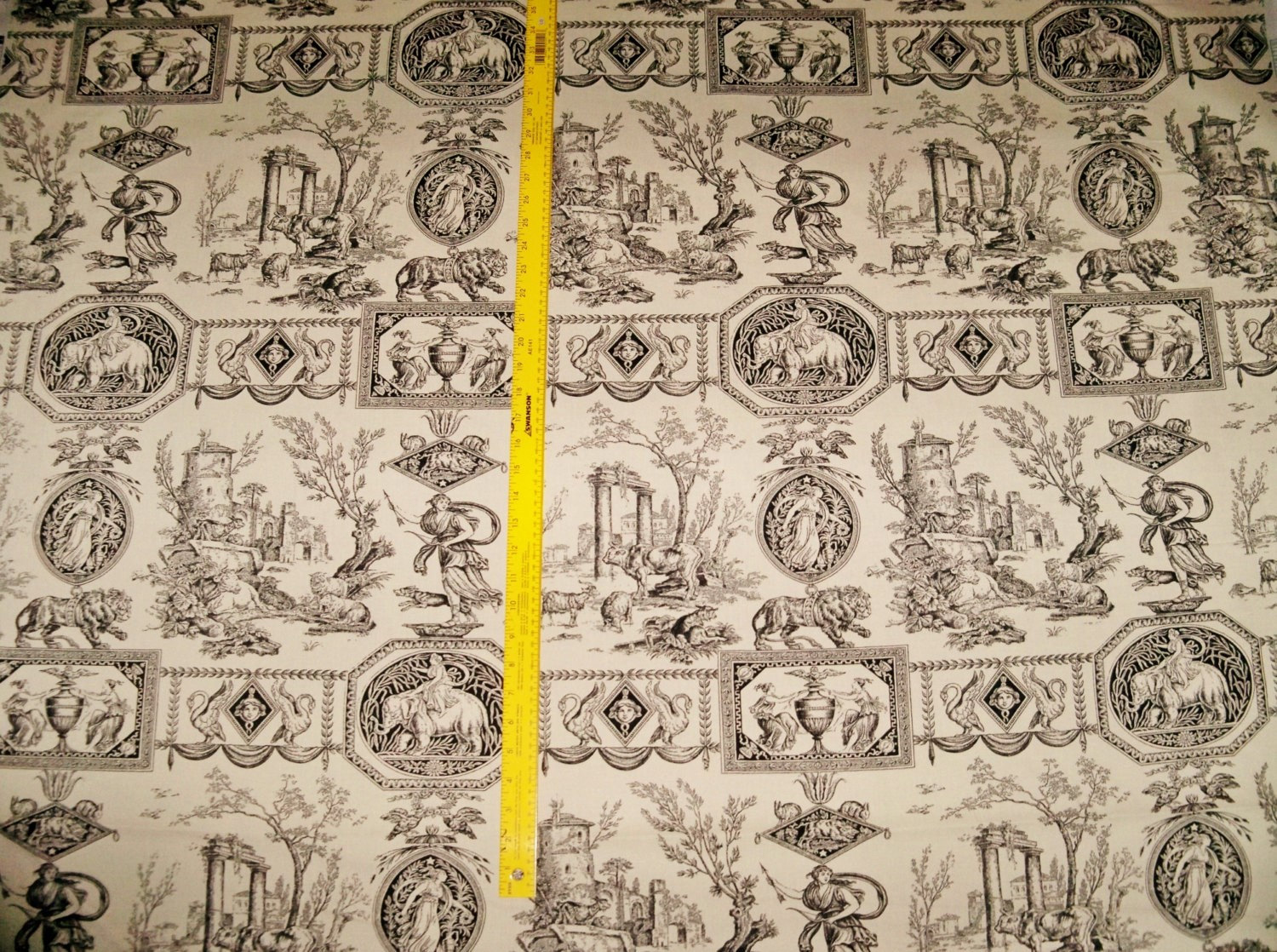 Designer neoclassical mythological goddesses pictorial toile fabric 14 yards - Toile triptyque design ...