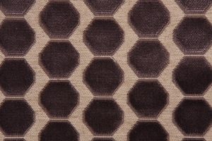 DESIGNER OCTAGON CUT VELVET FABRIC GRAPHITE