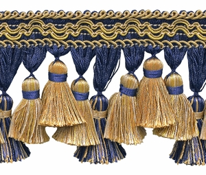 DESIGNER PASSEMENTERIE OLEANDER HAND TIED TASSEL TRIM 10 YARDS REGAL BLUE GOLD