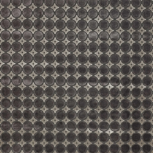 DESIGNER RETRO DOTS GEOMETRIC LINEN VELVET FABRIC CHARCOAL BROWN
