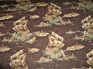 DESIGNER SAILING SHIPS MARCO POLO POLISHED COTTON FABRIC 10 YARDS BROWN MULTI