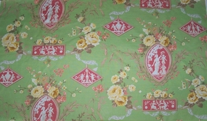 DESIGNER SCALAMANDRE NEOCLASSICAL CAMEO ARABESQUE TOILE FABRIC 14 YARDS GREEN ROSE